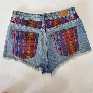 UO BDG denim high rise DREE cheeky raw hem shorts